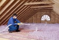 blowing insulation in the attic - Roof One Services: Residential: Tax Credit: Insulation