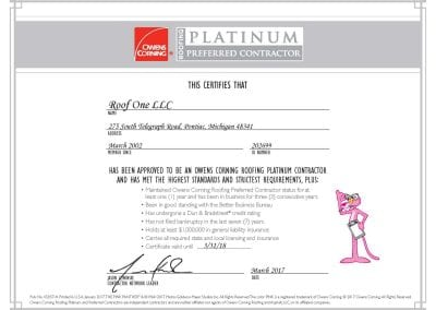 cert roof1 400x284 - Awards & Certifications