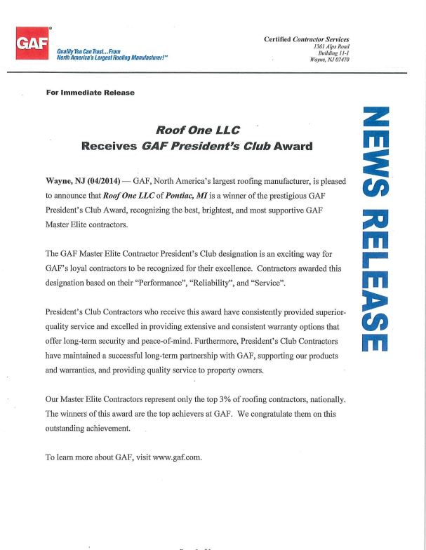 Roof One LLC receives GAF President's Club Award